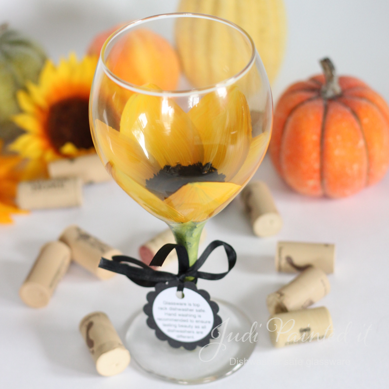 Uncategorized Dishwasher Safe Paint For Glass sunflower painted wine glass that is dishwasher safe on luulla safe