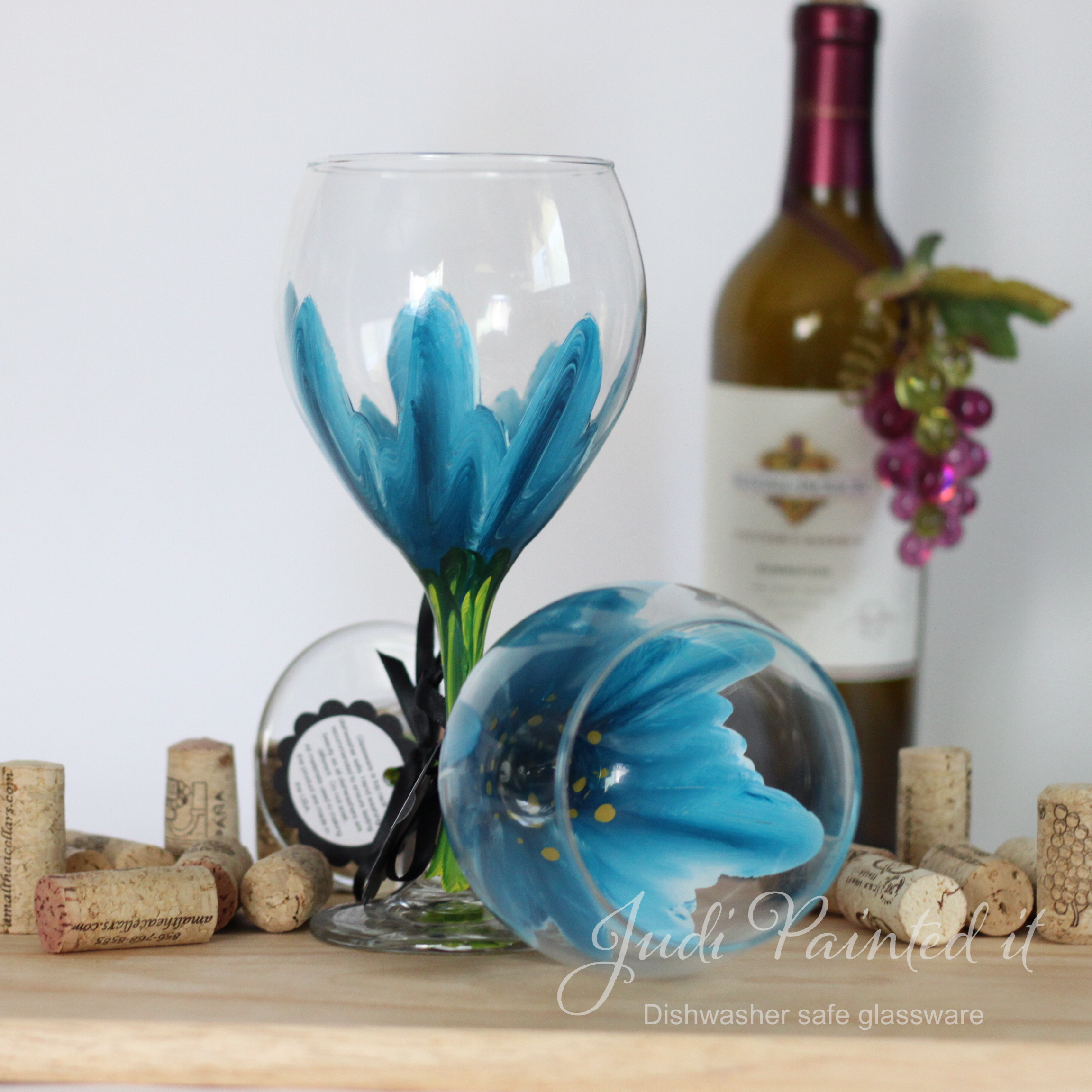 Uncategorized Dishwasher Safe Paint For Glass wild flower painted wine glass in cerulean blue that is dishwasher safe